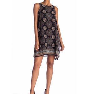 NWT Max Studio Print Black Flowy Shift Dress Large